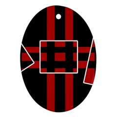 Red and black geometric pattern Ornament (Oval)