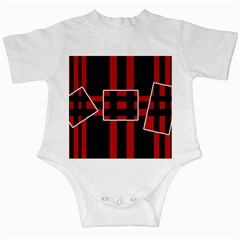 Red and black geometric pattern Infant Creepers