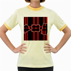 Red and black geometric pattern Women s Fitted Ringer T-Shirts