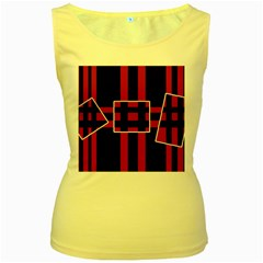 Red And Black Geometric Pattern Women s Yellow Tank Top