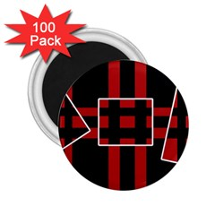 Red and black geometric pattern 2.25  Magnets (100 pack)