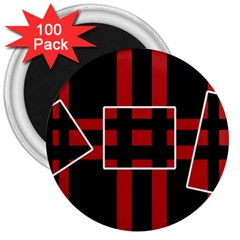 Red and black geometric pattern 3  Magnets (100 pack)