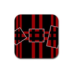 Red and black geometric pattern Rubber Square Coaster (4 pack)