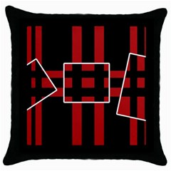 Red and black geometric pattern Throw Pillow Case (Black)