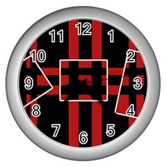 Red and black geometric pattern Wall Clocks (Silver)