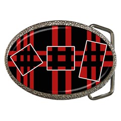 Red and black geometric pattern Belt Buckles