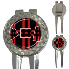 Red and black geometric pattern 3-in-1 Golf Divots
