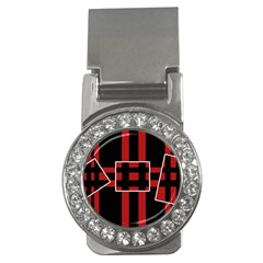 Red and black geometric pattern Money Clips (CZ)