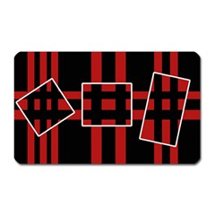 Red and black geometric pattern Magnet (Rectangular)