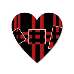 Red and black geometric pattern Heart Magnet
