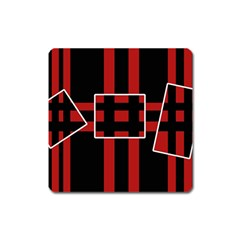 Red and black geometric pattern Square Magnet