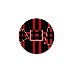 Red and black geometric pattern Golf Ball Marker