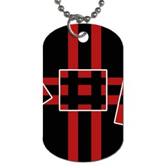 Red and black geometric pattern Dog Tag (Two Sides)
