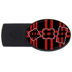 Red and black geometric pattern USB Flash Drive Oval (1 GB)