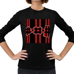 Red and black geometric pattern Women s Long Sleeve Dark T-Shirts