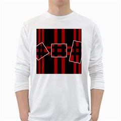 Red and black geometric pattern White Long Sleeve T-Shirts