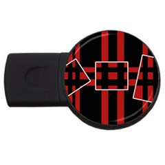 Red and black geometric pattern USB Flash Drive Round (4 GB)