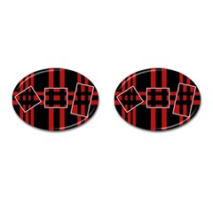 Red and black geometric pattern Cufflinks (Oval)