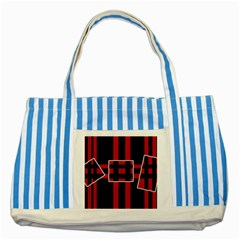 Red and black geometric pattern Striped Blue Tote Bag