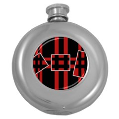 Red and black geometric pattern Round Hip Flask (5 oz)