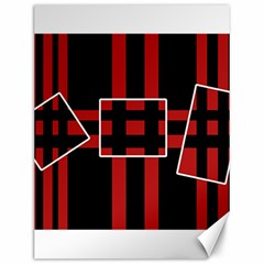 Red and black geometric pattern Canvas 12  x 16