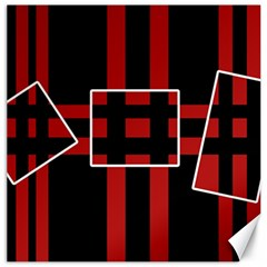 Red and black geometric pattern Canvas 16  x 16