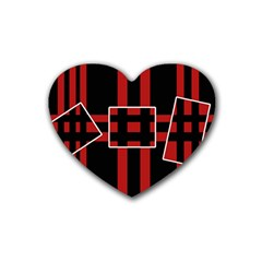 Red and black geometric pattern Heart Coaster (4 pack)