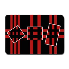 Red and black geometric pattern Small Doormat