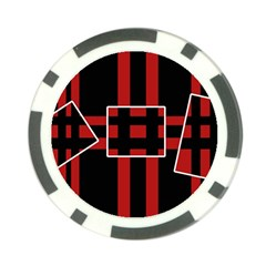 Red and black geometric pattern Poker Chip Card Guards
