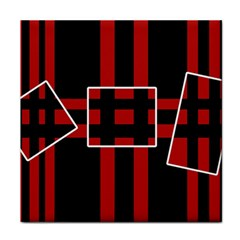 Red and black geometric pattern Face Towel