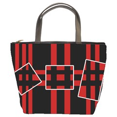 Red and black geometric pattern Bucket Bags