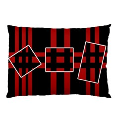 Red and black geometric pattern Pillow Case