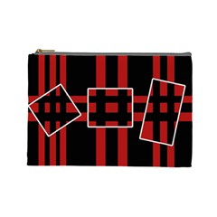 Red and black geometric pattern Cosmetic Bag (Large)