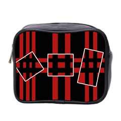 Red and black geometric pattern Mini Toiletries Bag 2-Side