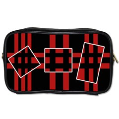 Red and black geometric pattern Toiletries Bags 2-Side