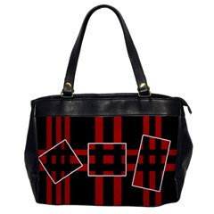Red and black geometric pattern Office Handbags