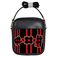 Red and black geometric pattern Girls Sling Bags