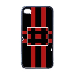 Red and black geometric pattern Apple iPhone 4 Case (Black)