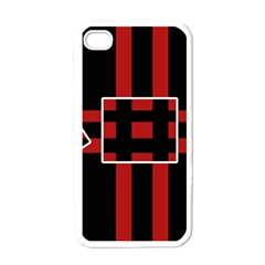 Red and black geometric pattern Apple iPhone 4 Case (White)