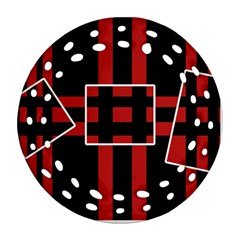 Red and black geometric pattern Ornament (Round Filigree)