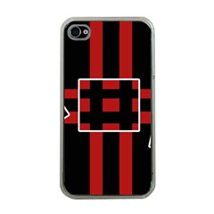 Red and black geometric pattern Apple iPhone 4 Case (Clear)