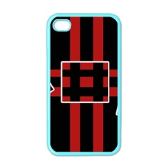 Red and black geometric pattern Apple iPhone 4 Case (Color)