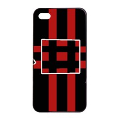 Red and black geometric pattern Apple iPhone 4/4s Seamless Case (Black)