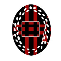 Red and black geometric pattern Ornament (Oval Filigree)