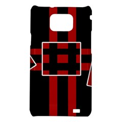 Red and black geometric pattern Samsung Galaxy S2 i9100 Hardshell Case