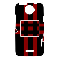 Red and black geometric pattern HTC One X Hardshell Case