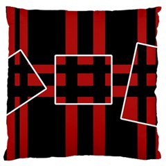 Red and black geometric pattern Large Cushion Case (One Side)