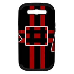 Red and black geometric pattern Samsung Galaxy S III Hardshell Case (PC+Silicone)