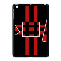 Red and black geometric pattern Apple iPad Mini Case (Black)