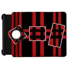 Red and black geometric pattern Kindle Fire HD Flip 360 Case